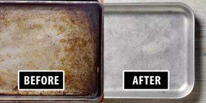 bakplaat schoonmaken met baking soda en witte azijn